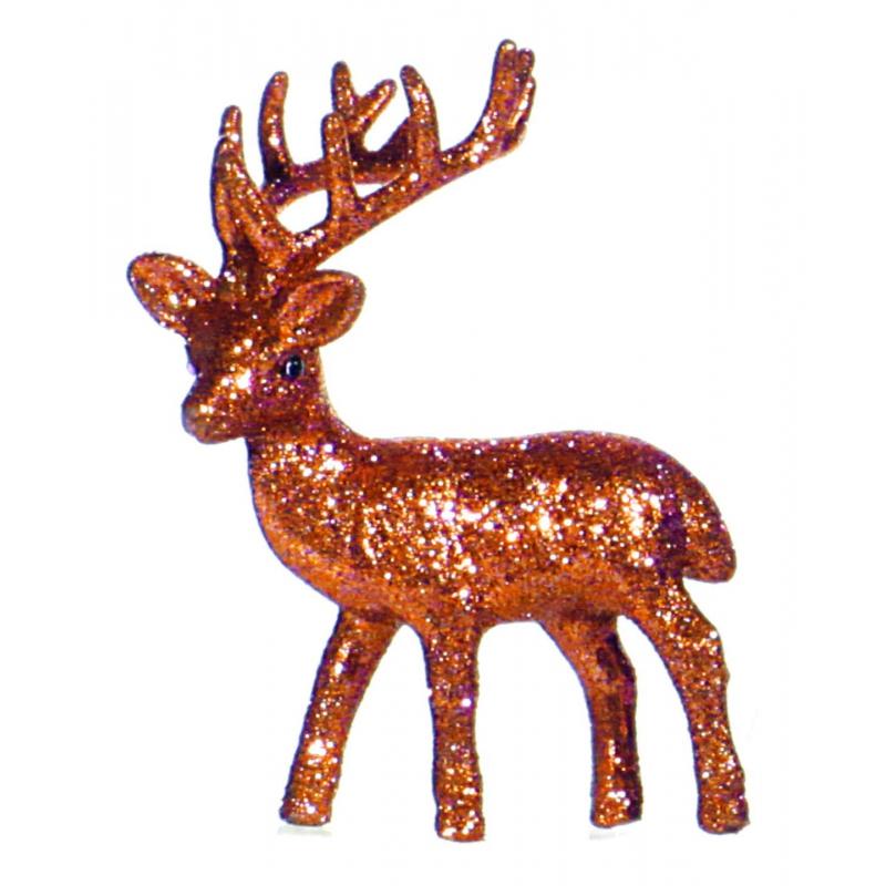Oranje glitter deco rendier 10 cm