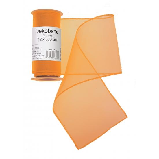Oranje organza tule decoratie stof 12 x 300 cm