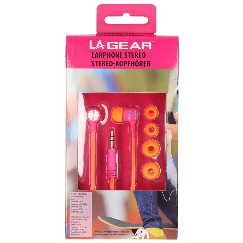 Oranje-roze oordopjes-oortelefoon in ear stereo