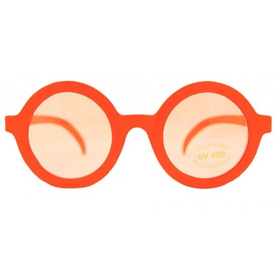 Oranje zonnebril met ronde glazen