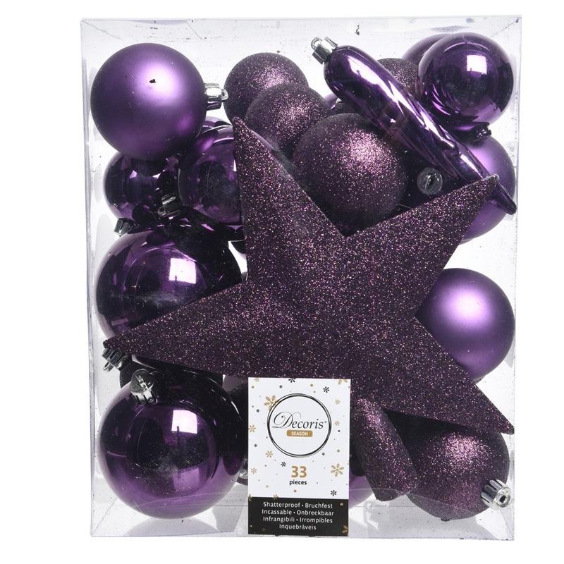 Paars kerstballen pakket met piek 33 stuks