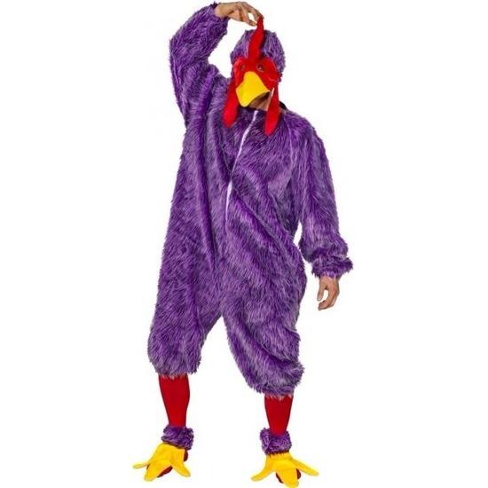 Paars kip-haan kostuum voor volwassenen