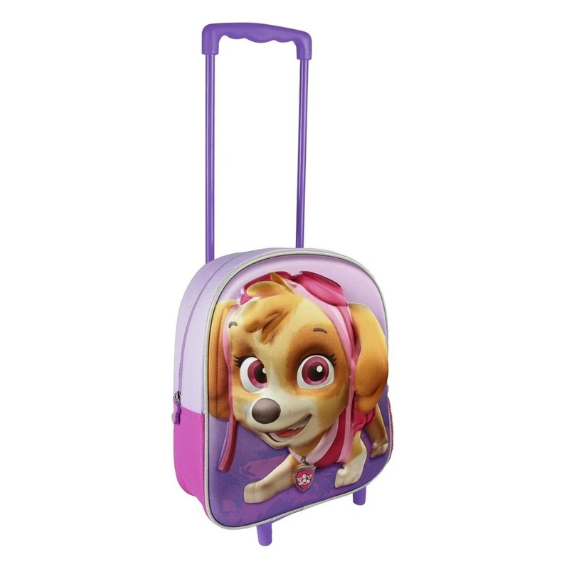 Paarse 3D Paw Patrol Skye weekendtas-trolley voor meisjes 31 cm