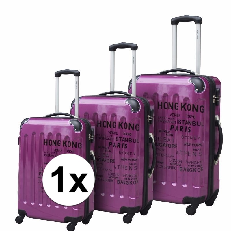 Paarse koffer op wielen 26 inch