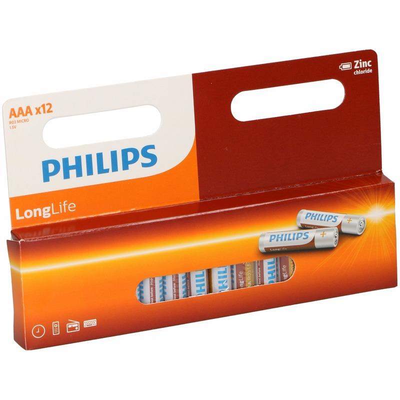 Pakket met 12 Philips long life AAA batterijen