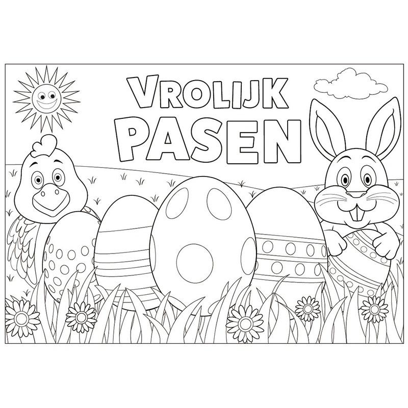 Papieren Paas Kleurplaat Placemats 6 Stuks In Thema Feestartikelen