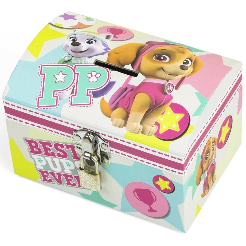 Paw Patrol mint-roze kinder spaarpot-geldkistje 14 x 10 cm