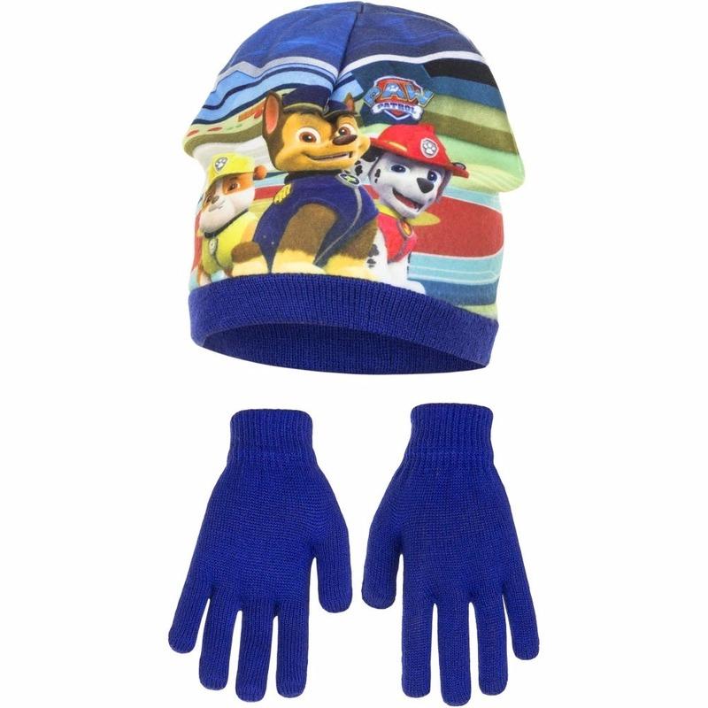Paw patrol muts met handschoenen voor jongens. deze set bevat een blauwe muts met plaatjes van paw patrol en ...