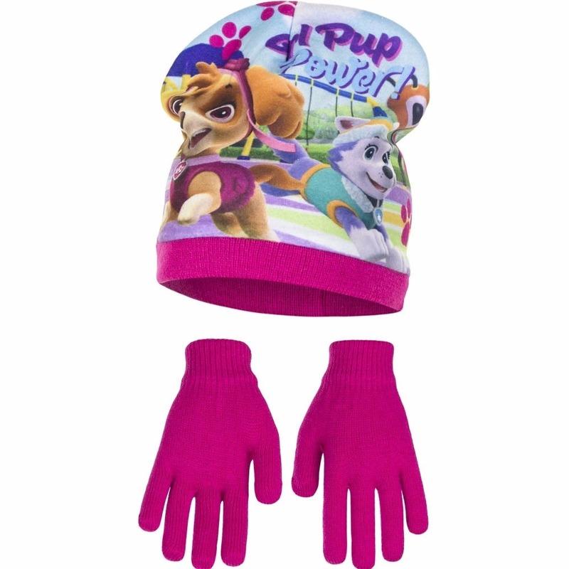 Paw Patrol muts met handschoenen roze voor meisjes