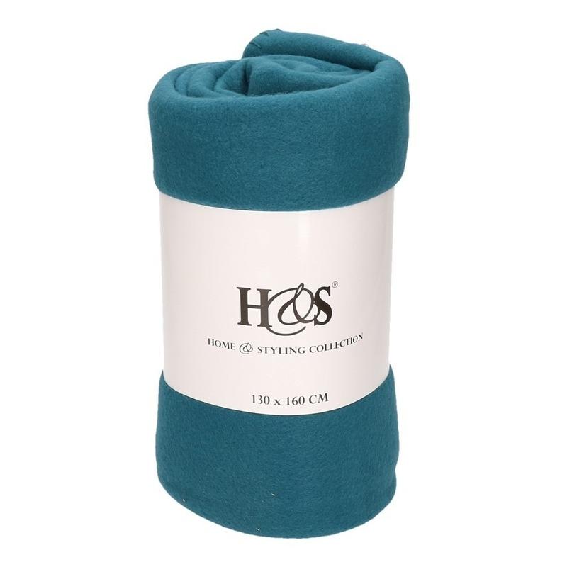 Petrol blauwe fleece deken-kleed 130 x 160 cm