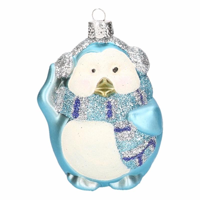 Pinguin kerstbal blauw 4 stuks