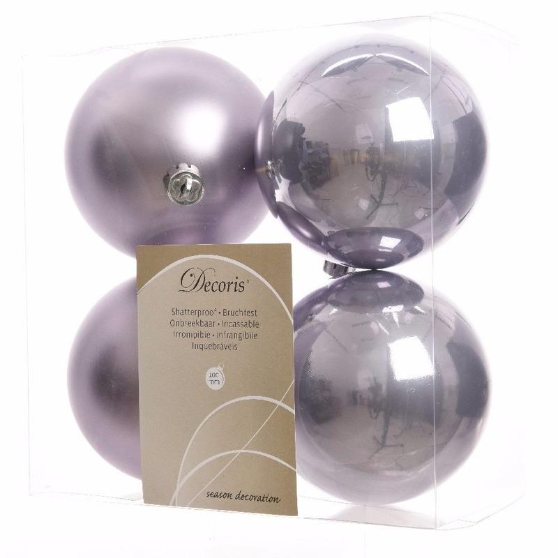 Plastic kerstballen set lila 4 stuks