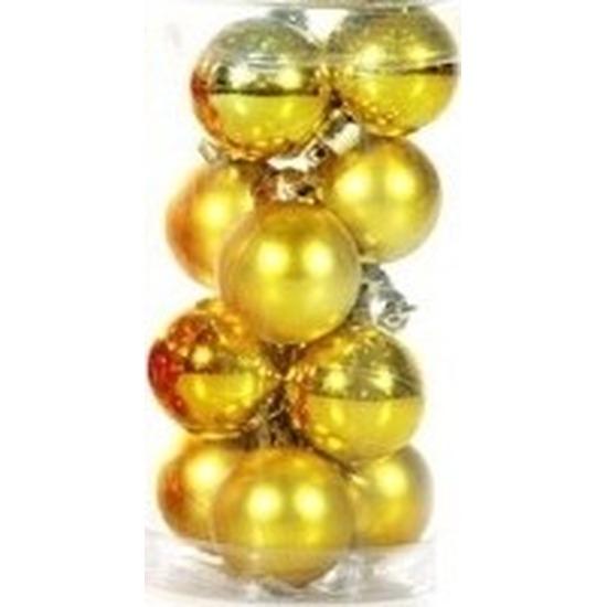 Plastic mini kerstballen goud 12 stuks 3 cm