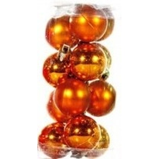 Plastic mini kerstballen oranje 12 stuks 3 cm