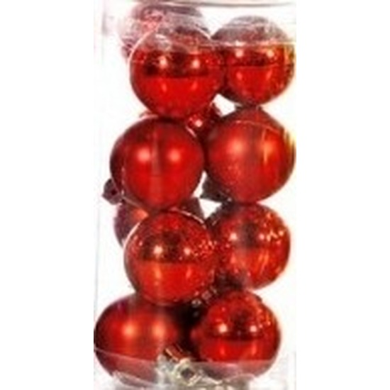Plastic mini kerstballen rood 12 stuks 3 cm