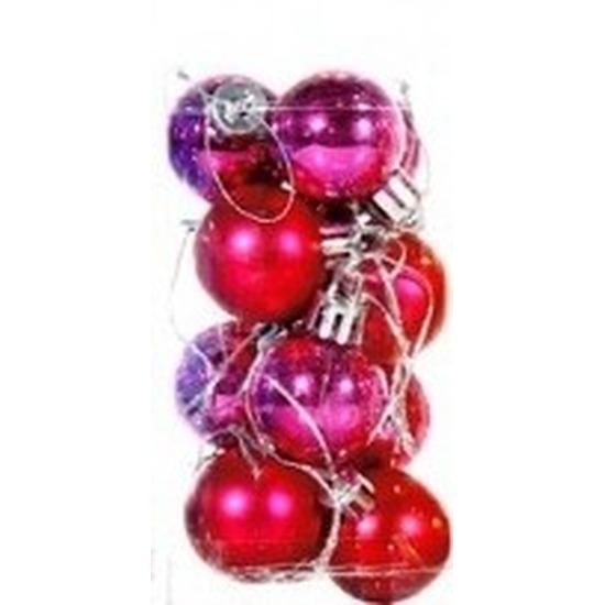 Plastic mini kerstballen roze 12 stuks 3 cm