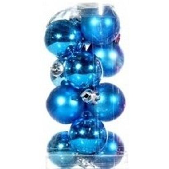 Plastic mini kerstballen turquoise blauw 12 stuks 3 cm