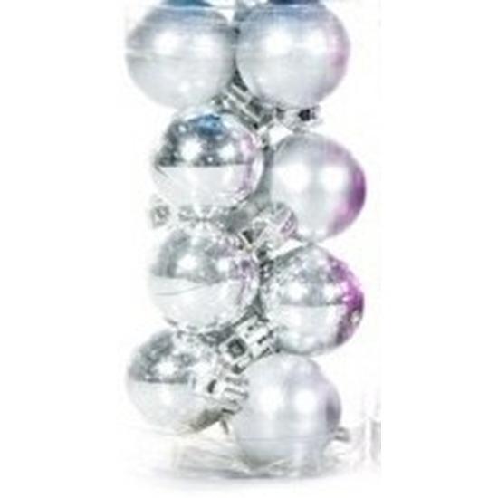 Plastic mini kerstballen zilver 12 stuks 3 cm