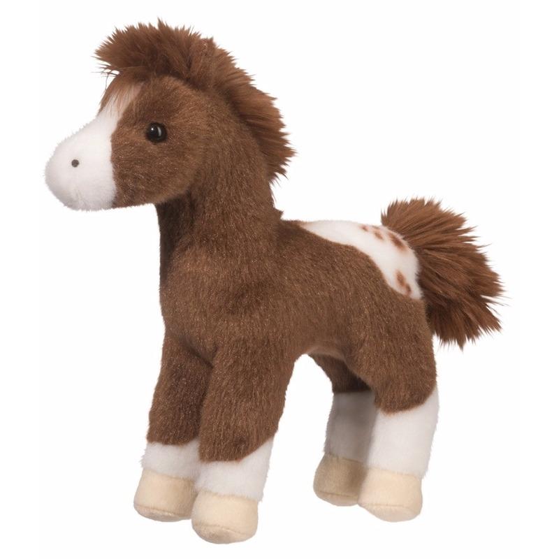 Dieren knuffels Geen|Pluche Appaloosa paard knuffel donkerbruin 20 cm