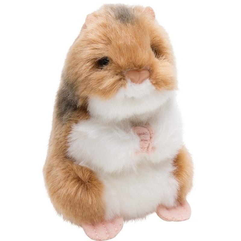 Pluche bruin-witte hamster knaagdieren knuffel 13 cm speelgoed