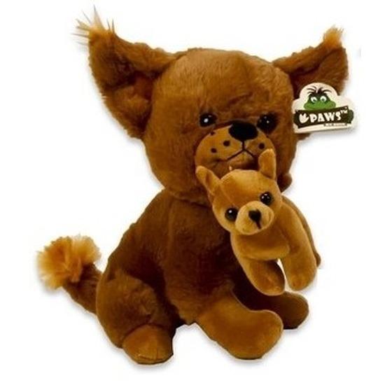 Pluche Chihuahua honden knuffel lichtbruin 36 cm