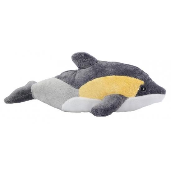 Pluche dolfijn knuffel geel-grijs 25 cm