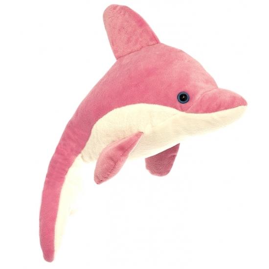 Pluche dolfijn knuffel roze-wit 23 cm