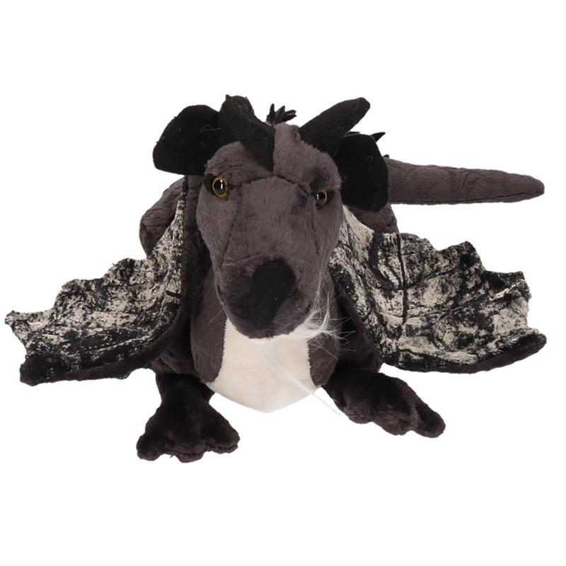 Pluche knuffel draak zwart 30 cm