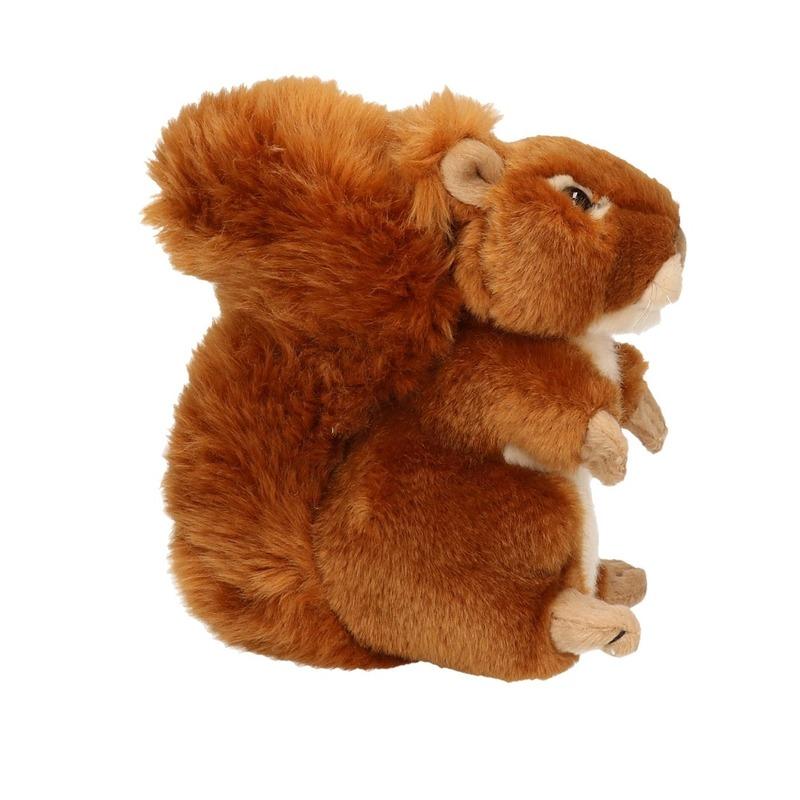 Pluche knuffeldier eekhoorn zittend-liggend 17cm