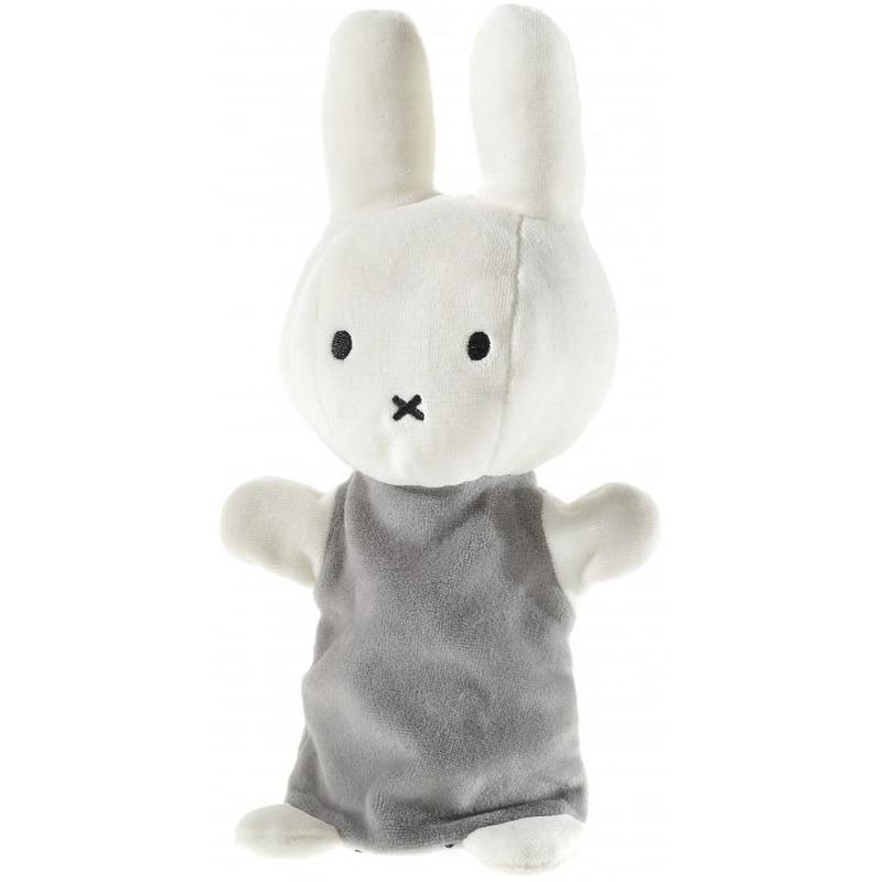 Pluche Nijntje handpop knuffel wit-grijs 26 cm baby