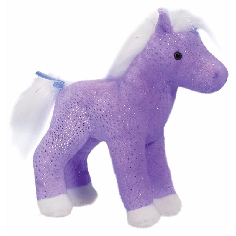 Eersteklas Geen Dieren knuffels|Pluche paard paars met glitters 18 cm