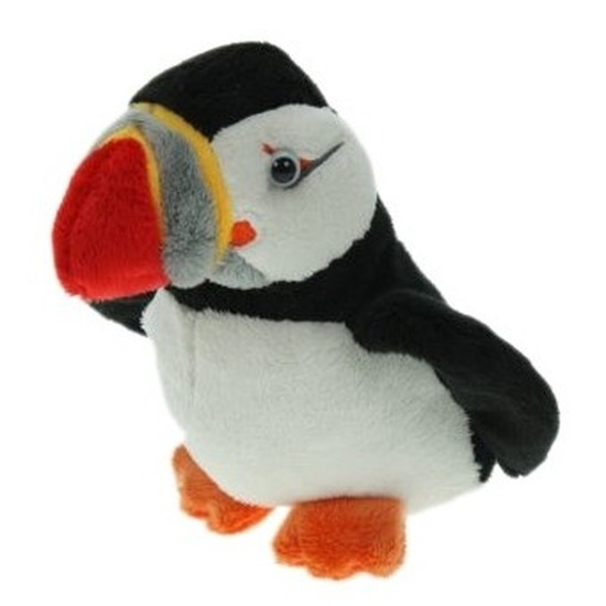 Pluche papegaaiduiker-puffin vogel knuffel 15 cm
