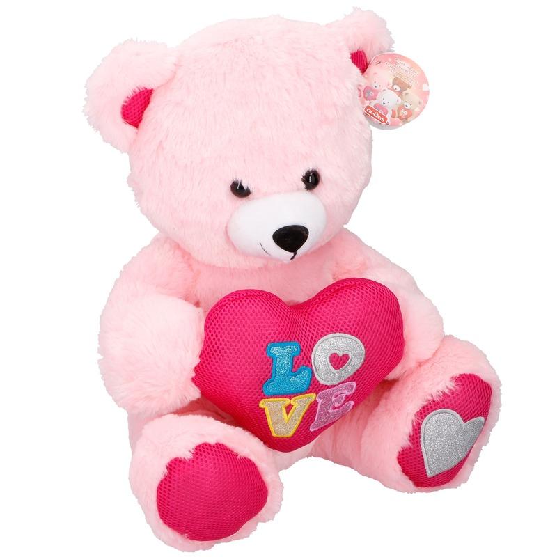 Pluche roze beer met hart 43 cm