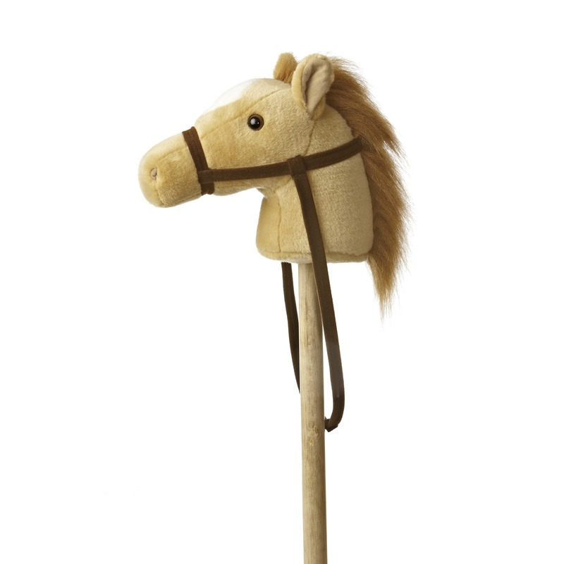 Beste kwaliteit|Pluche stokpaardje beige pony met geluid 94 cm