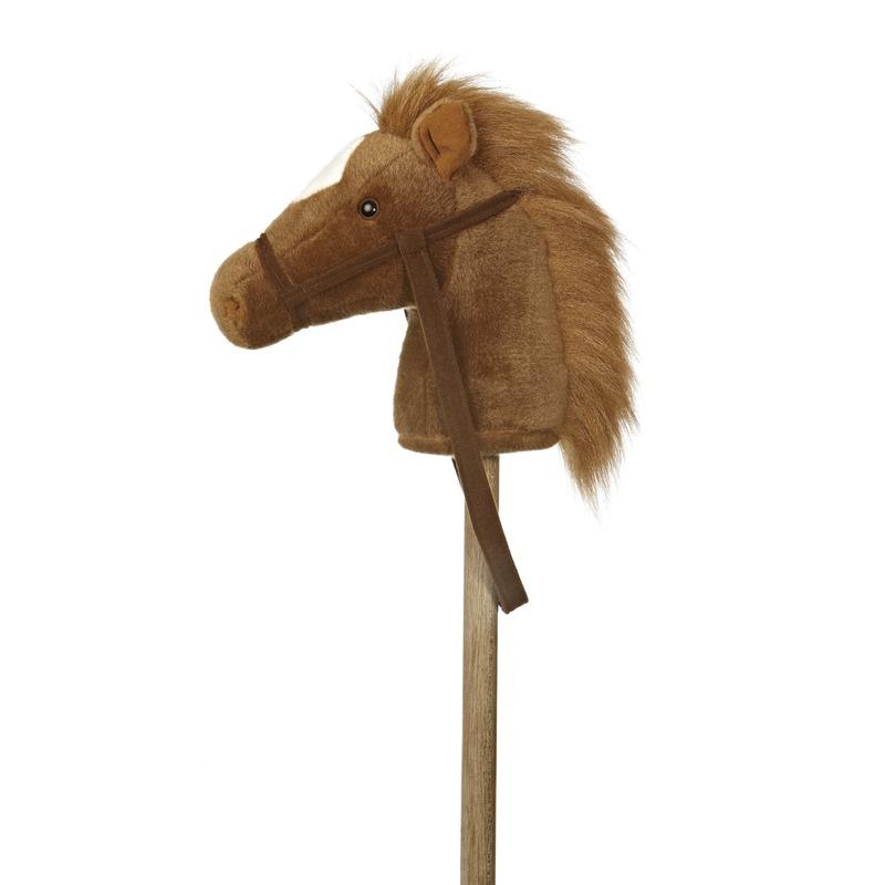 Aurora Houten speelgoed|Pluche stokpaardje bruine pony met geluid 94 cm