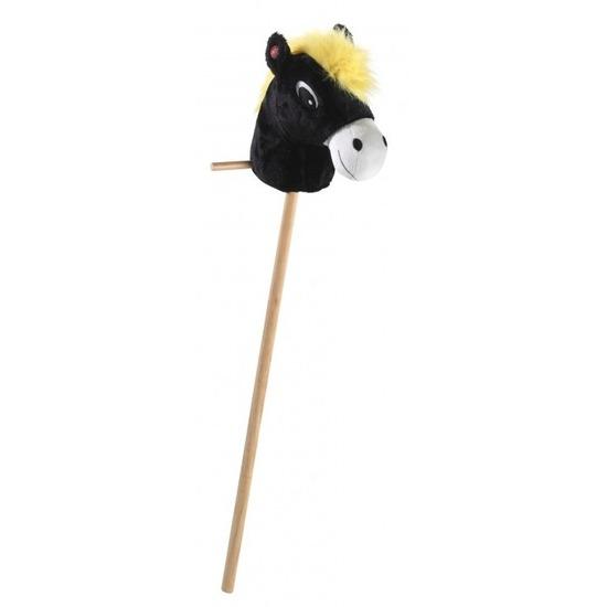 Pluche zwart stokpaardje met geluid 89 cm
