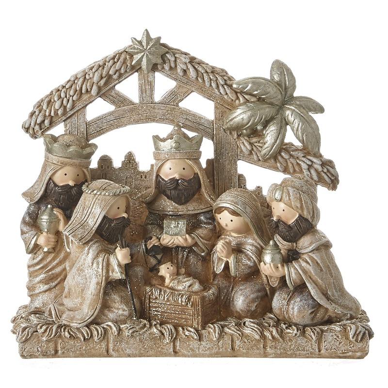 Polyresin Kerststal met Kerst figuren 20 cm