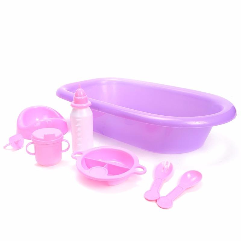 Poppen speelgoed badset 8 delig paars-roze