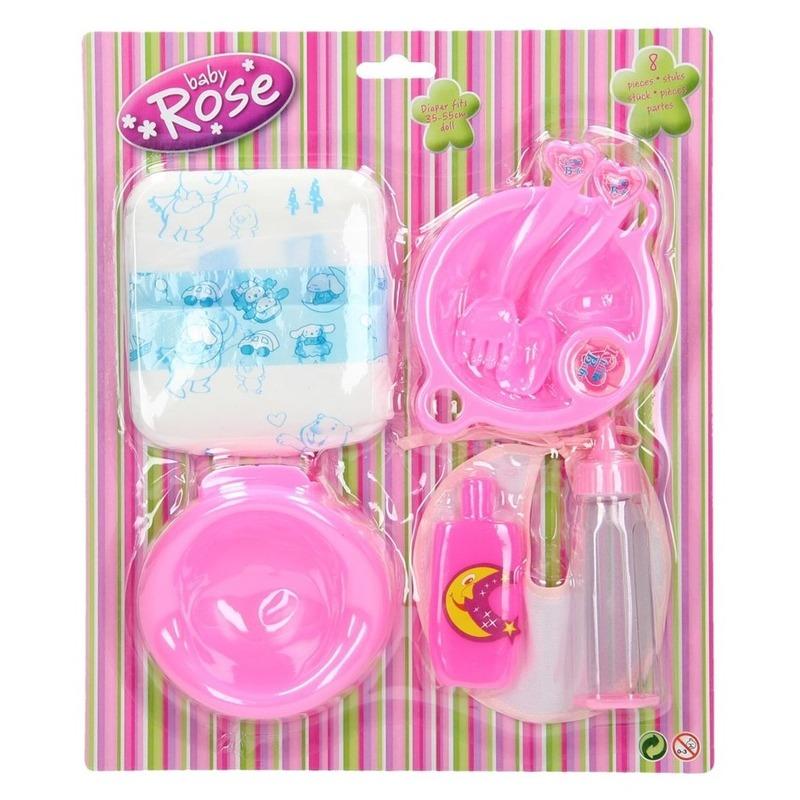 Poppen speelgoed verzorgingsset 8-delig