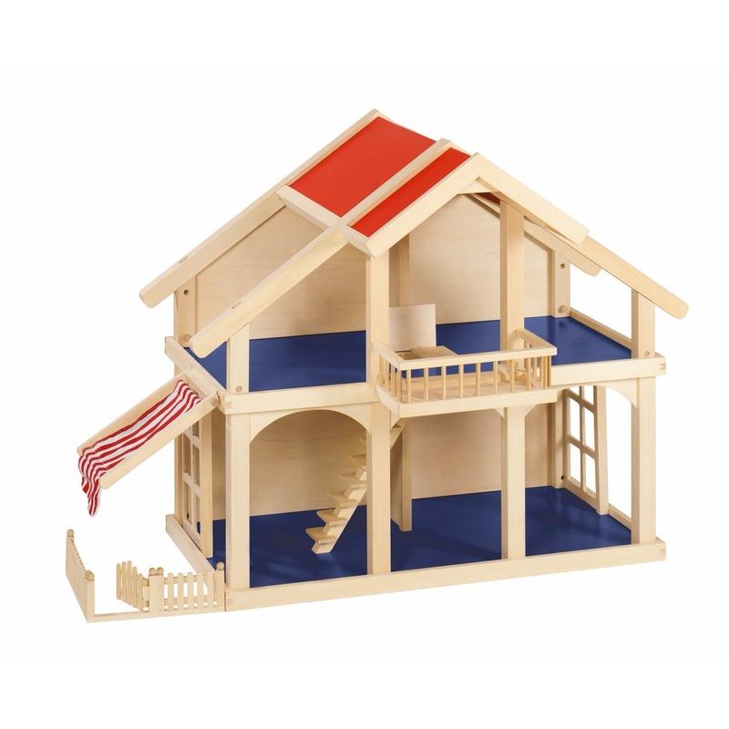 Poppenhuis met balkon en veranda van massief hout