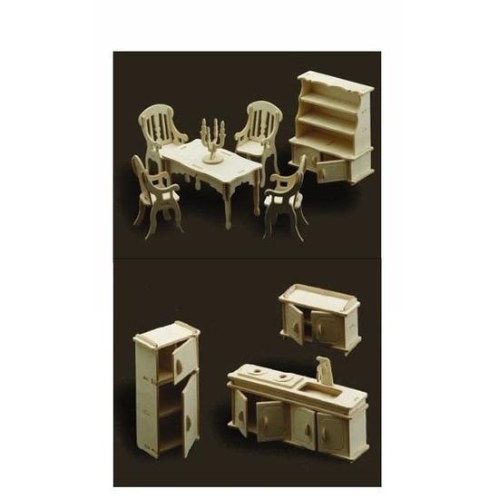 Poppenhuis meubels keuken en eetkamer