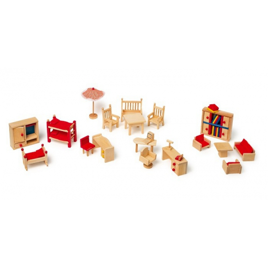 Poppenhuis meubels met tuin