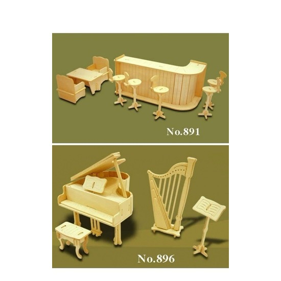 Poppenhuis meubels muziek-bar set