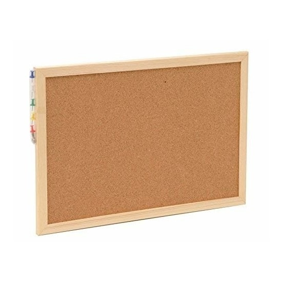 Prikbord-memobord van kurk inclusief punaises 22 x 30 cm