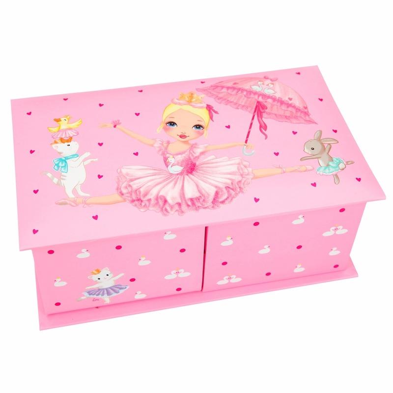 Princess Mimi neon roze sieradendoosje ballerina