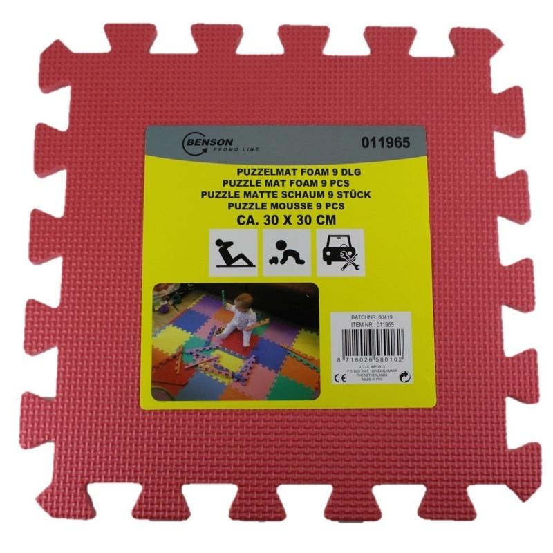 Puzzel speelmat foam tegels 30 x 30 cm roze 9 stuks