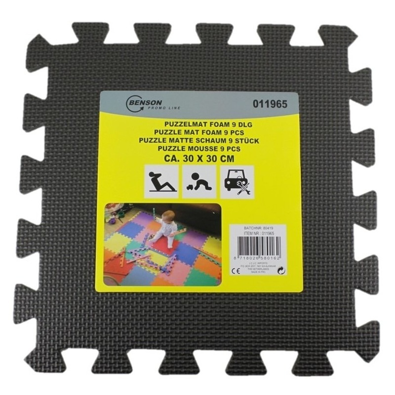 Puzzel speelmat foam tegels 30 x 30 cm zwart 9 stuks