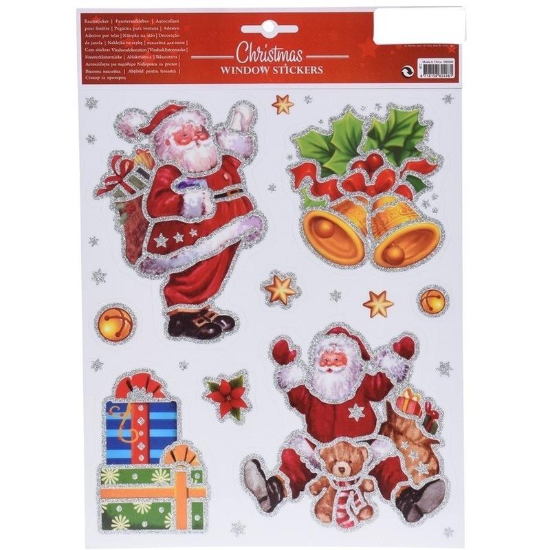 Raamstickers Kerstmannen met glitters op vel 30 cm