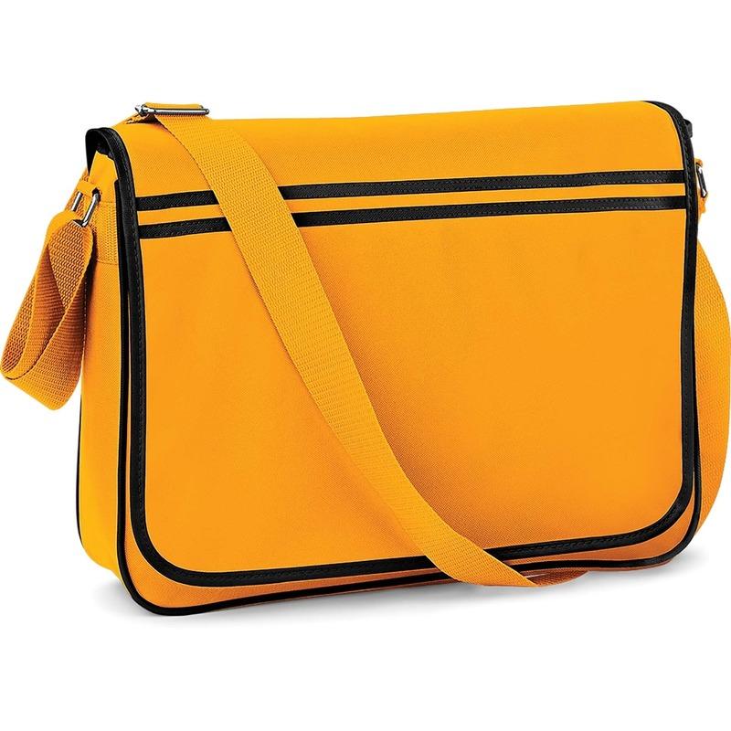 Retro schoudertas-aktetas geel-zwart 40 cm voor dames-heren