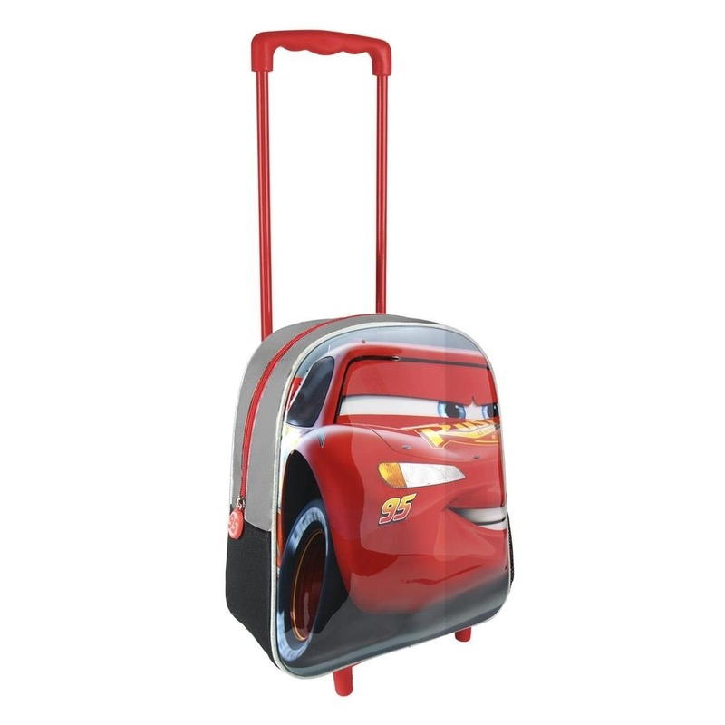 Rode 3D Disney Cars weekendtas-trolley voor jongens 31 cm